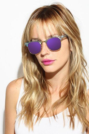 'Peyton' Colorful Color Mirror Clubmaster Sunglasses - Brown - 5582-4