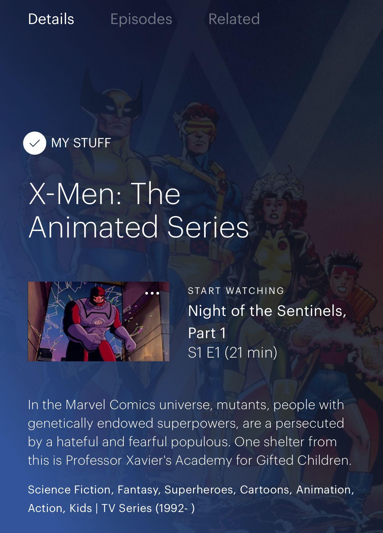 The entire Fox Kids 90s X-Men cartoon series in on Hulu