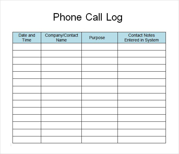 Phone Call List Template  Google Search  Call Log