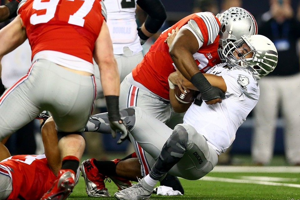 "Football Is A Mental Game (haiku) ""Buckeyes cooked Ducks with - a bogus weight loss diet - and psychology""  Ohio State defensive lineman Adolphus Washington sacks Oregon quarterback Marcus Mariota."