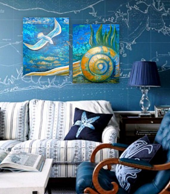 Acrylic painting diptych painting on canvas seascape marine