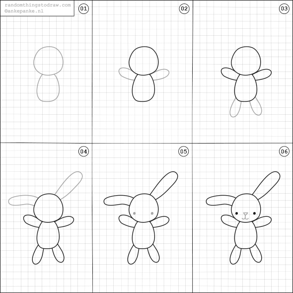 How to draw a plush bunny.