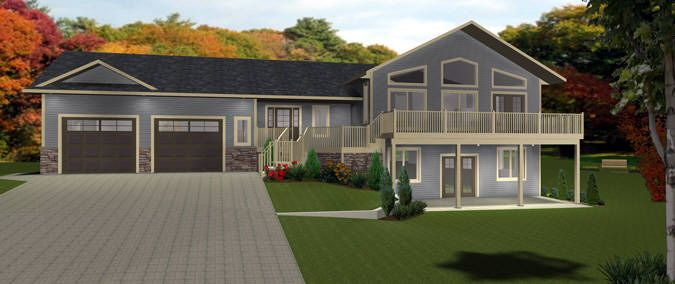 House Plan 2011555 Great Farmhouse Bi Level With Walkout By Edesignsplans Ca Lots Of Room In The Fron Basement House Plans House Plans Bungalow House Plans