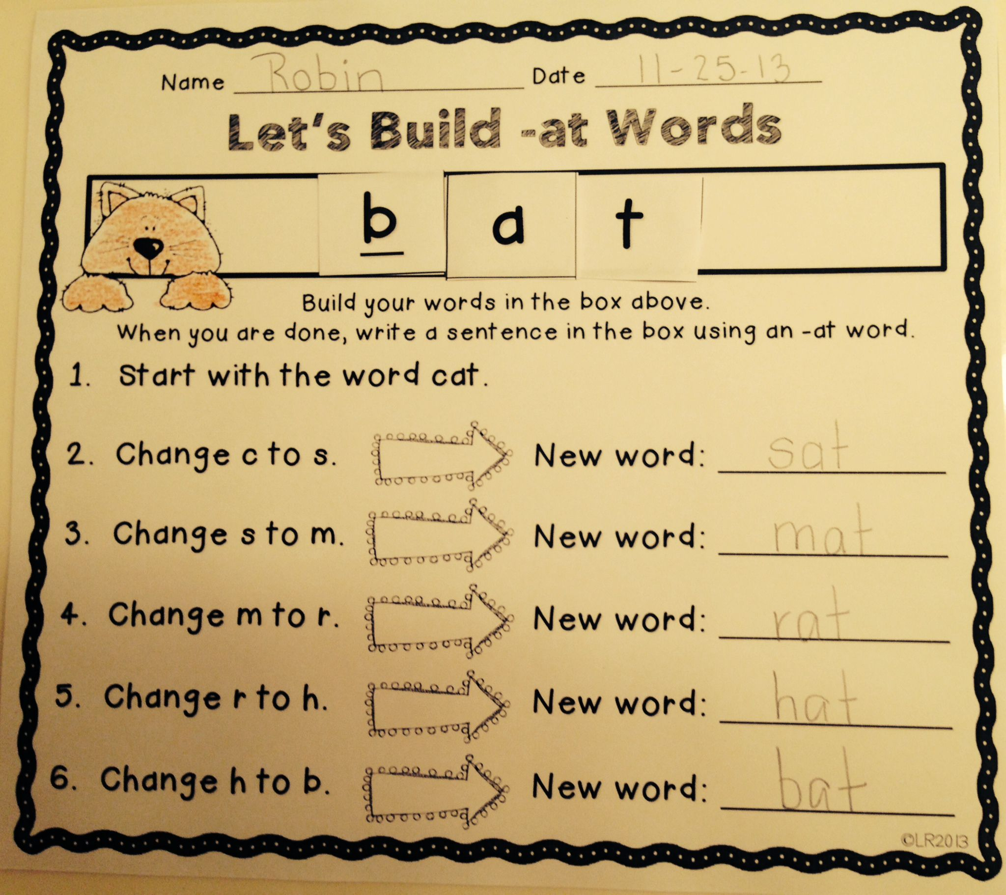 Building Words Word Families Edition