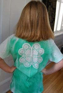 Use spray-dye paint (Like Tulip) and a doily to make a cute tee-shirt in a snap!