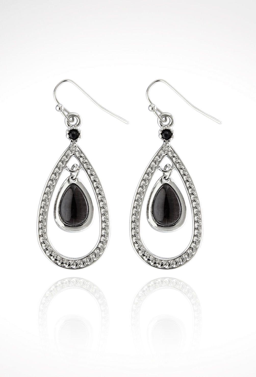 Teardrop Cab Earrings-Plus Size Earrings-Avenue