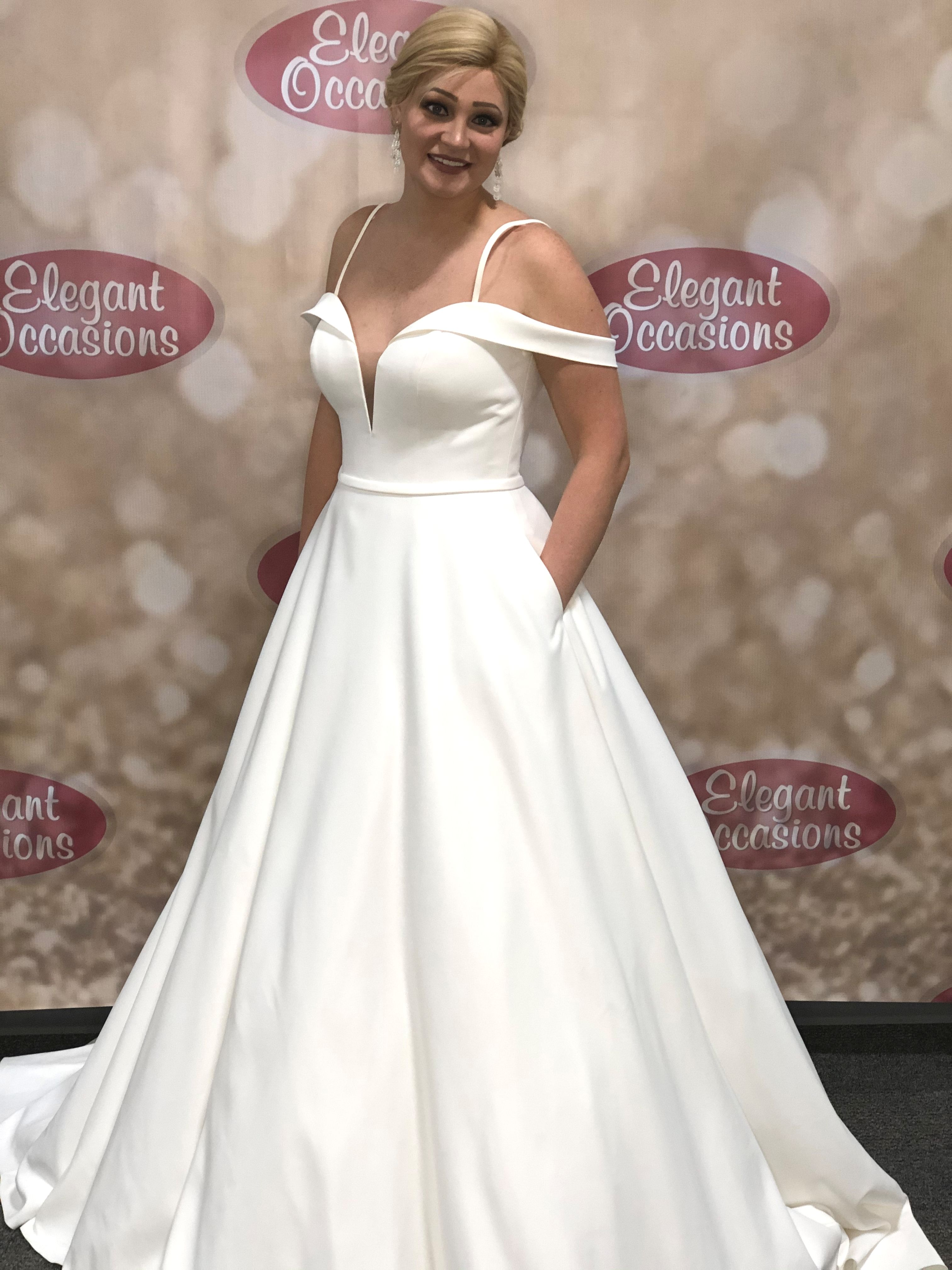 satin a line wedding dress with pockets