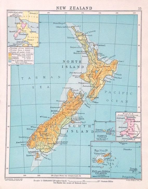 1925 New Zealand Vintage Map World Atlas By