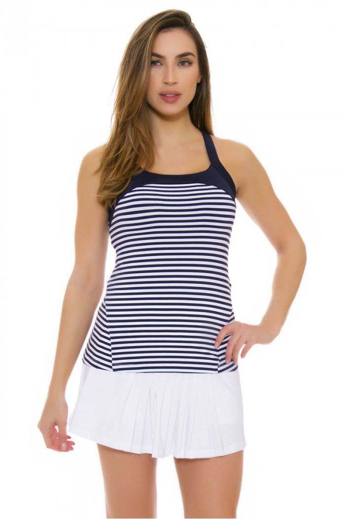 6739e0941672a Fila Women s Heritage Twisted Back Navy Stripe Tennis Tank