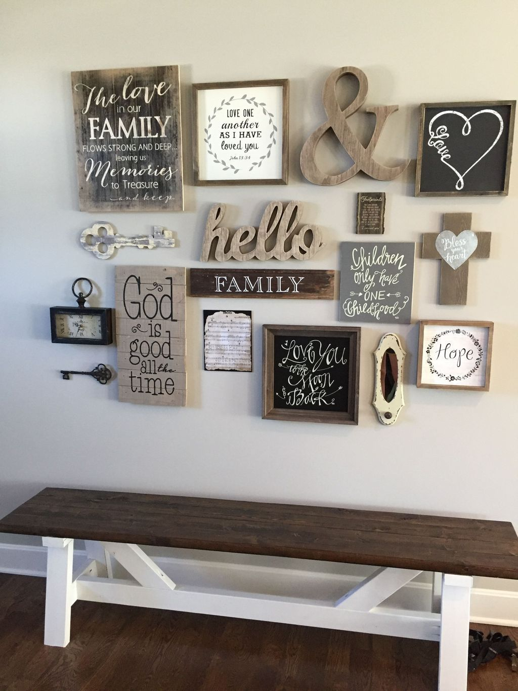 Living room shelf decor gallery wall farmhouse also message farm house style in kitchen rh pinterest