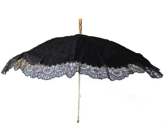 Antique Parasol Black Lace Silk Bone Antique Carriage ...