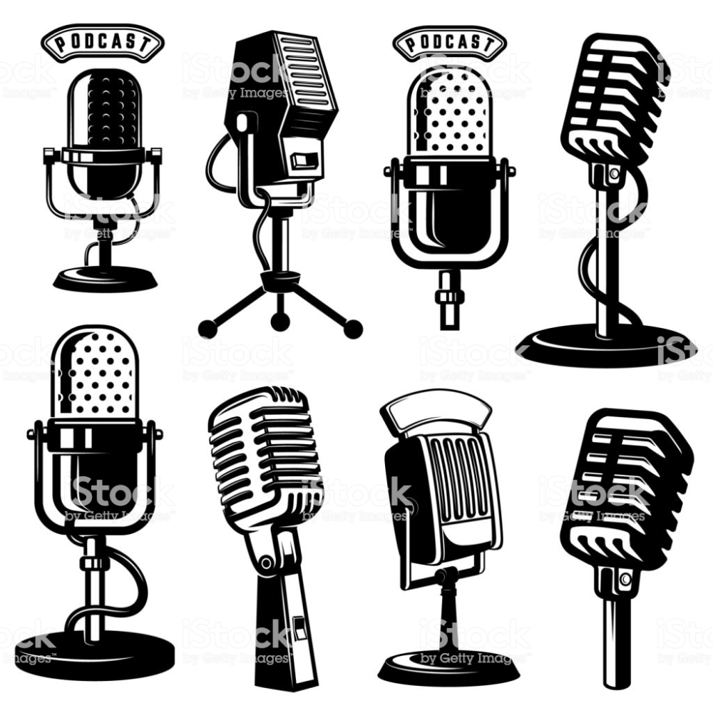 Set Of Retro Style Microphone Icons Isolated On White Background Microphone Icon Design Element Background Design