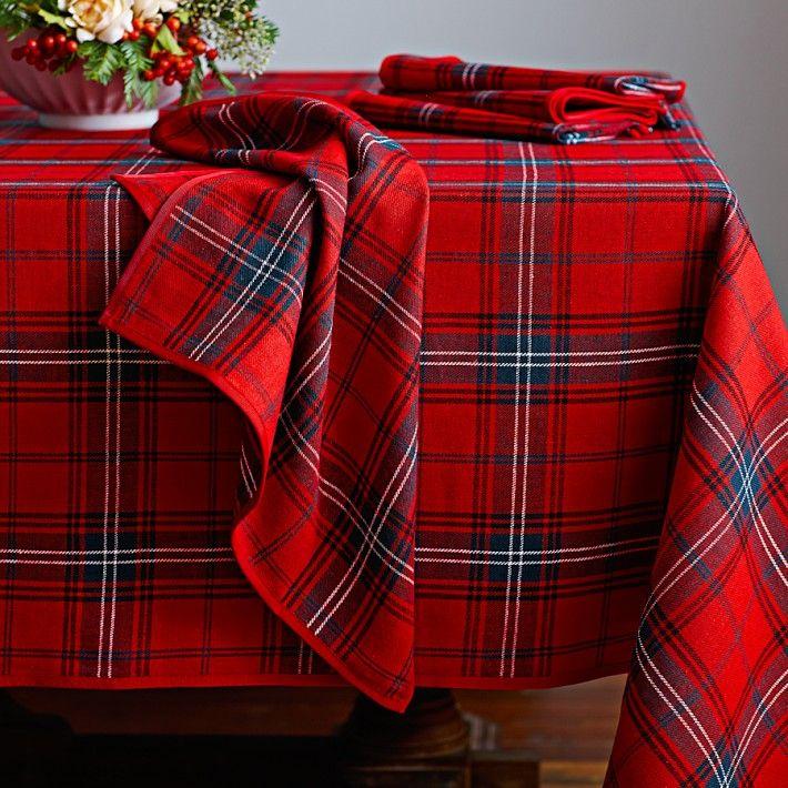 Williams Sonoma Red Tartan Plaid Linnen Table Cloth