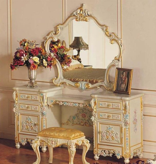 Baroque Carved Wood Frame Mirror Makeup Makeup Stool