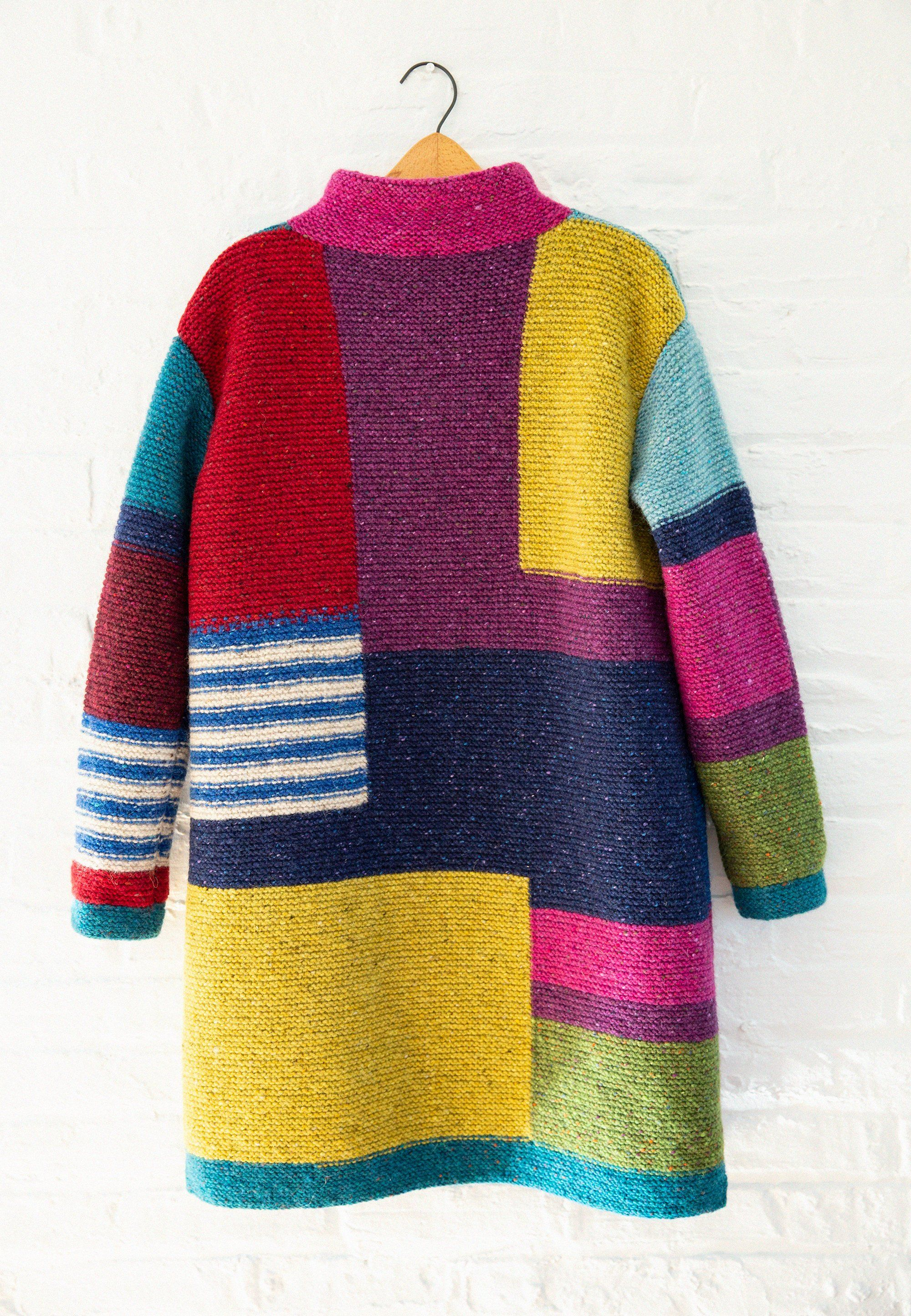 Coat Color Geometry Handmade Cardigan Tweed Cardigan