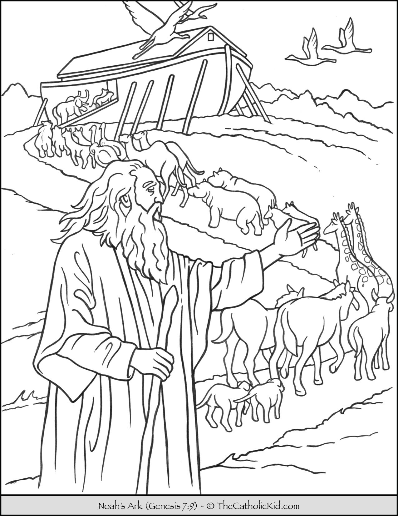 Noah S Ark Animals Coloring Page Thecatholickid Com In 2020