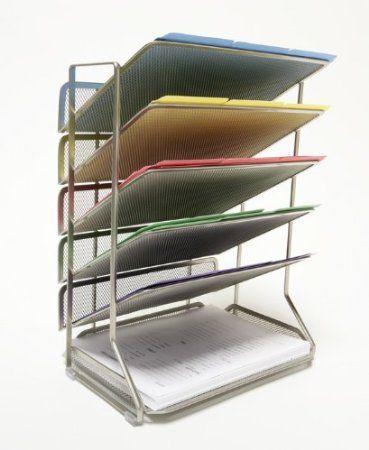 Seville Classics Office Desk Organizer Platinum Mesh 6 Trays Amazon Com Home Kit Desk Organization Office Desk Wall Organization Office Organization Files