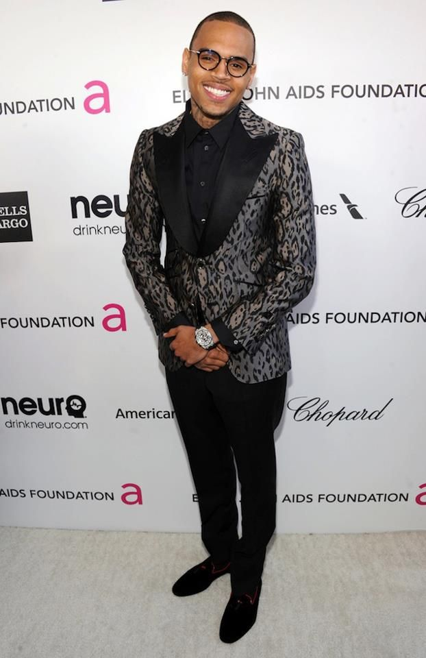 32a42df8b1a Chris Brown wearing  Thom Browne Eyewear,  Angelo Galasso Suit, and   Alberta Ferretti Loafers at 21st Annual Elton John AIDS Foundation Academy  Awards ...