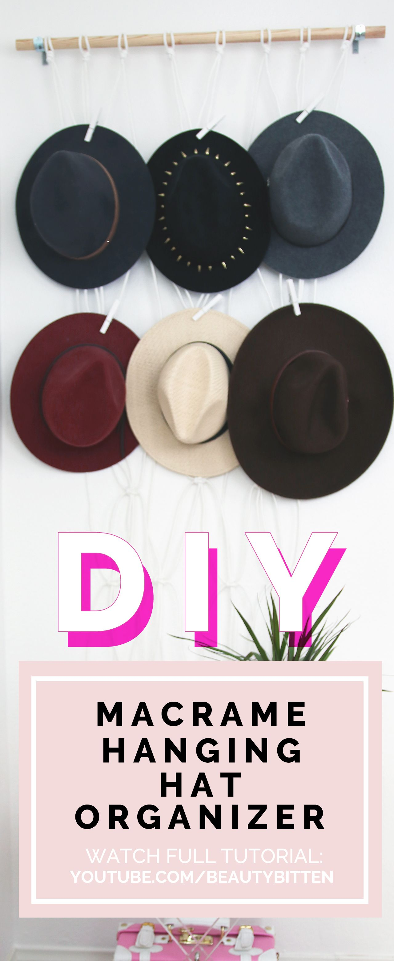 How to create a macrame hanging hat organizer stepbystep