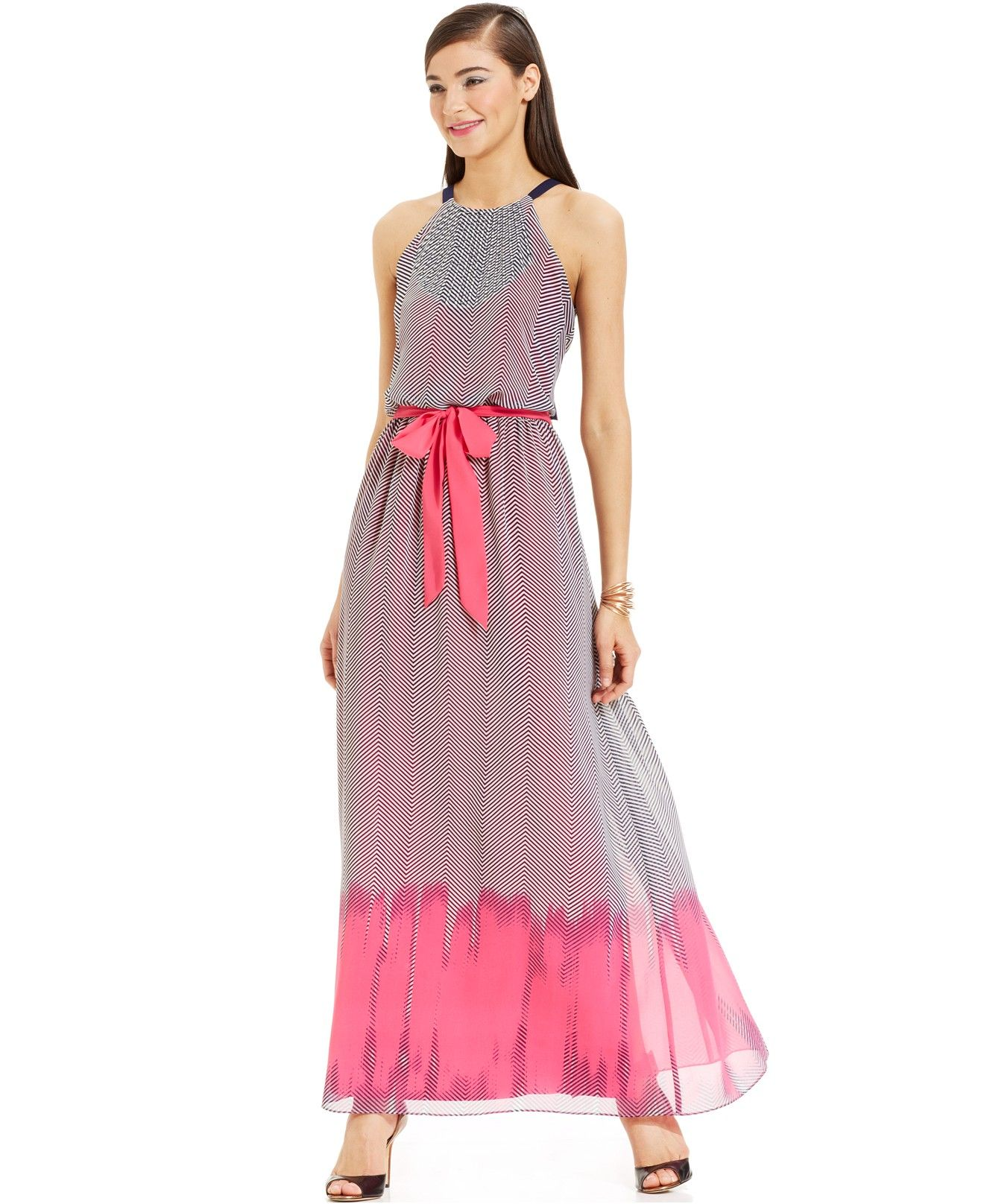 Vince Camuto Chevron Print Blouson Maxi Dress Dresses Women Macy S Fashion Clothes Women Cheap Maxi Dresses Maxi Dress [ 1616 x 1320 Pixel ]