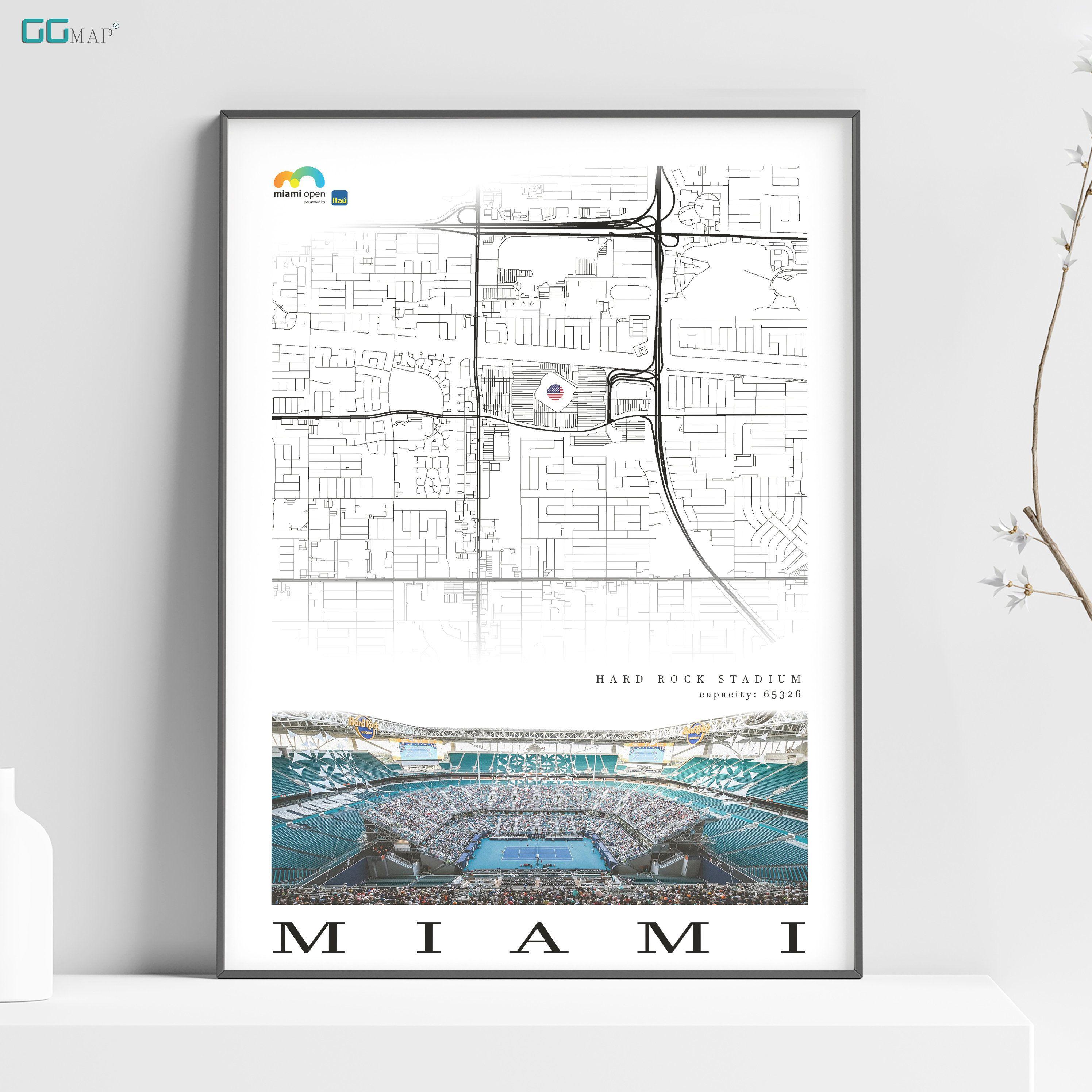 city map of miami - hard rock stadium - home decor miami
