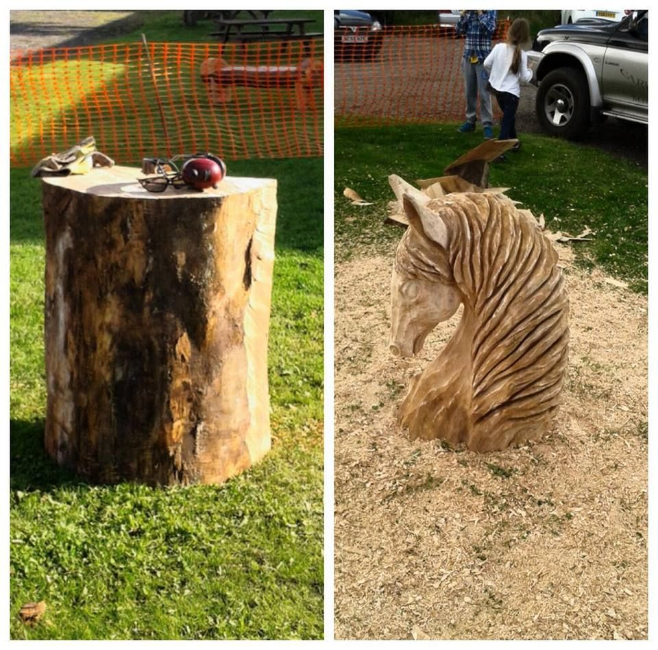 Horse head treesculpting chainsaw carving