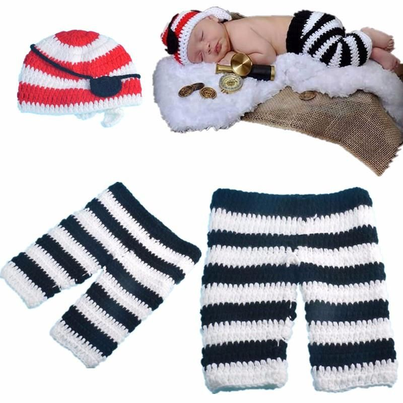 9a6906891f292 Knitted Hat Eye Patch and Pants 3-4 Months Photography Props Crochet ...