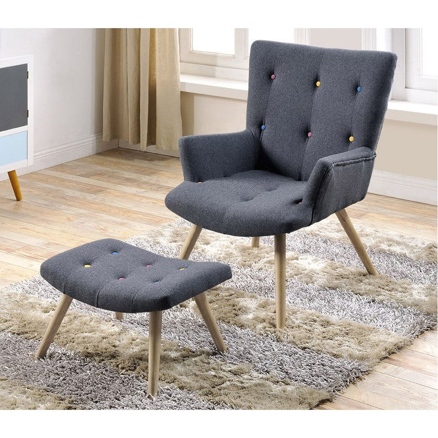 fauteuil en feutrine et son repose pieds avec boutons dco rameau delamaison - Fauteuil Scandinave Avec Repose Pied