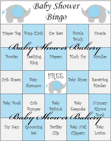 Blue Elephant Baby Shower Game Elephant Baby Shower Bingo Printable