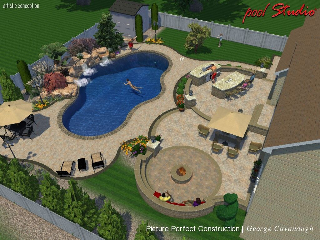 Pool Patio, waterfall, outdoor kitchen, outdoor bar, fire ...