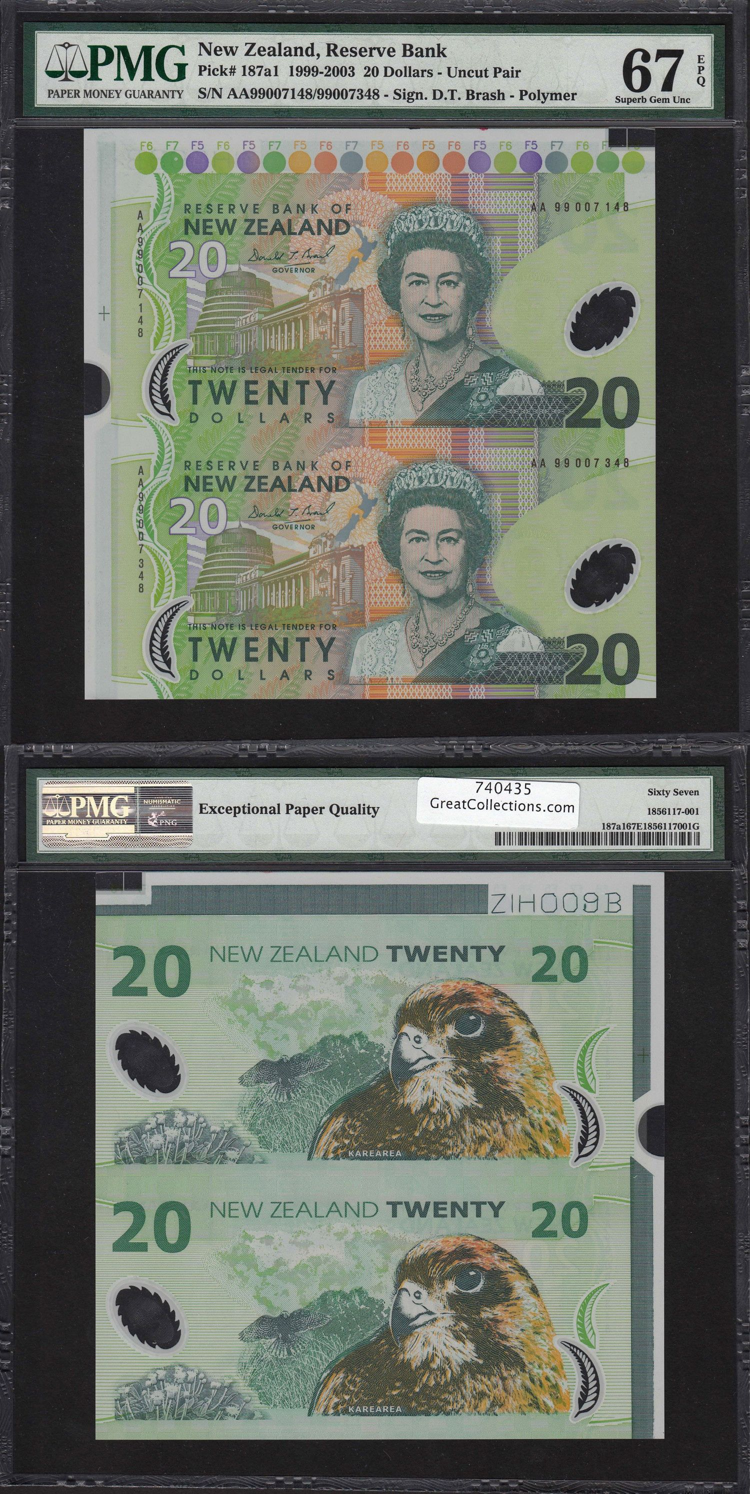 New Zealand 19992003 20 Reserve Bank Note Uncut Pair