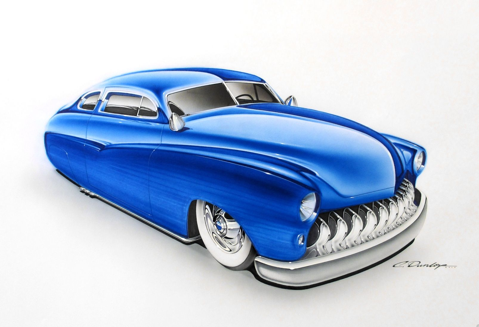 Custom 1949 Mercury Rendering Done Using Markers And Airbrushed