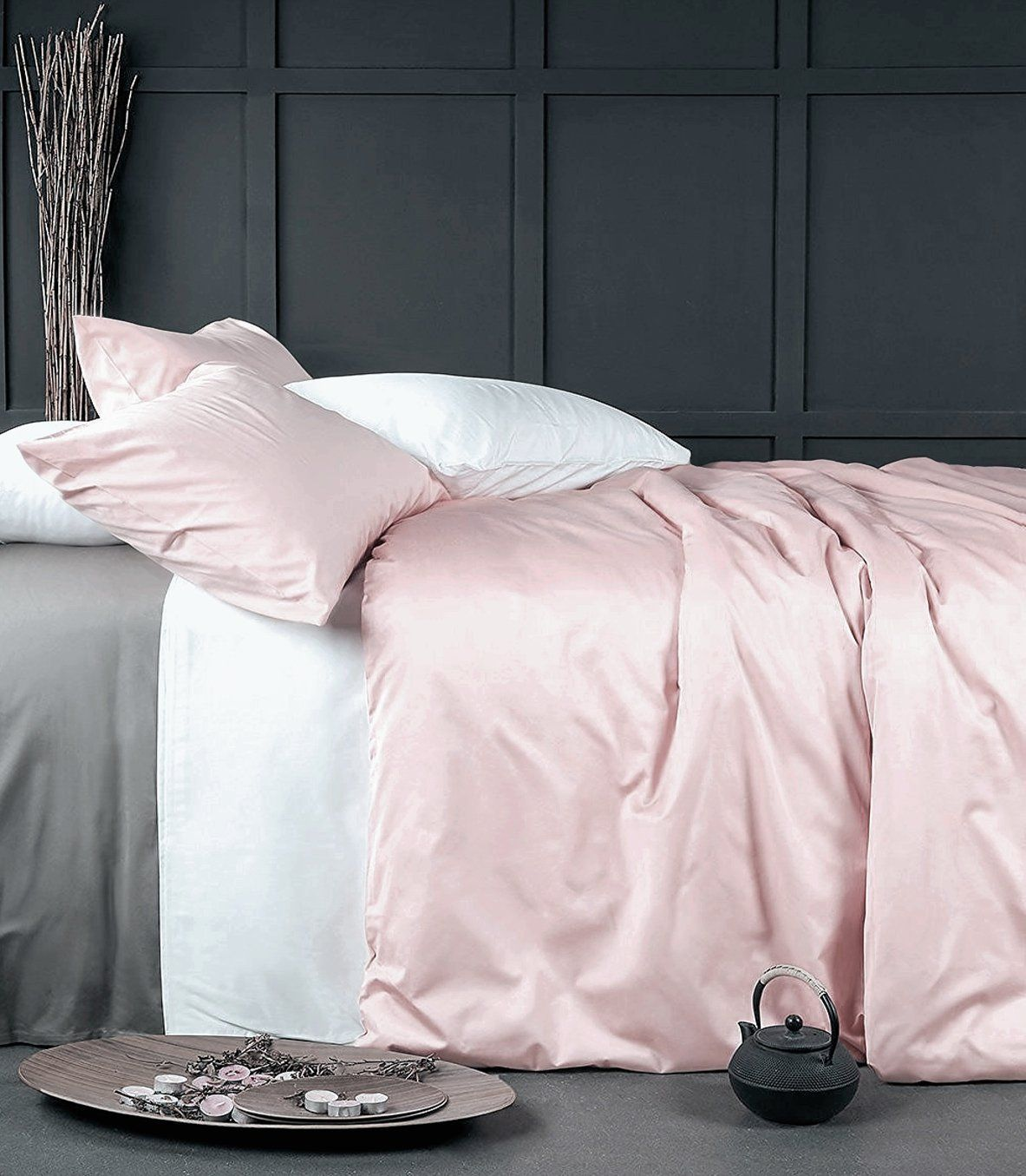 solid rose gold or dusty rose pale pink bedding duvet quilt cover set by designer eikei home beautiful dusty rose color very light pale pastel pink that