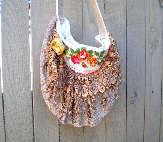 Fabric handbag purse vintage embroidery tapestry by BoudicaBags, $81.00