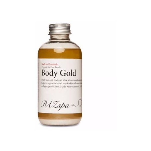Raz Spa Body Gold Oil (£35) ❤ liked on Polyvore featuring beauty products, bath & body products and body moisturizers
