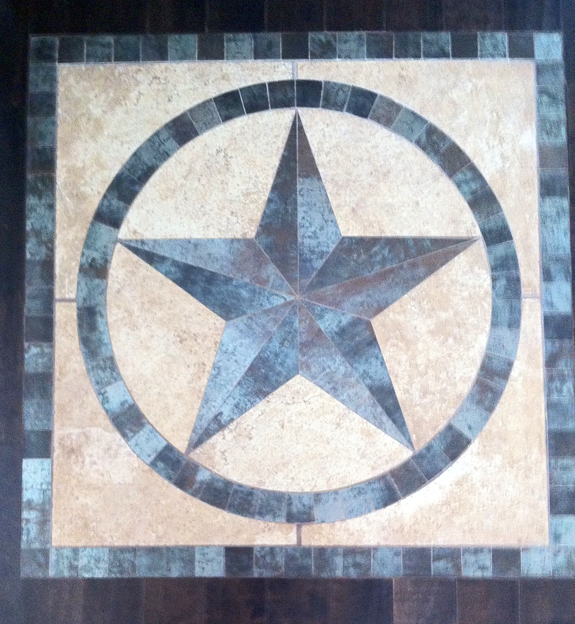 36 Framed Texas Star Medallion Of Porcelain And Travertine For Wood Floor