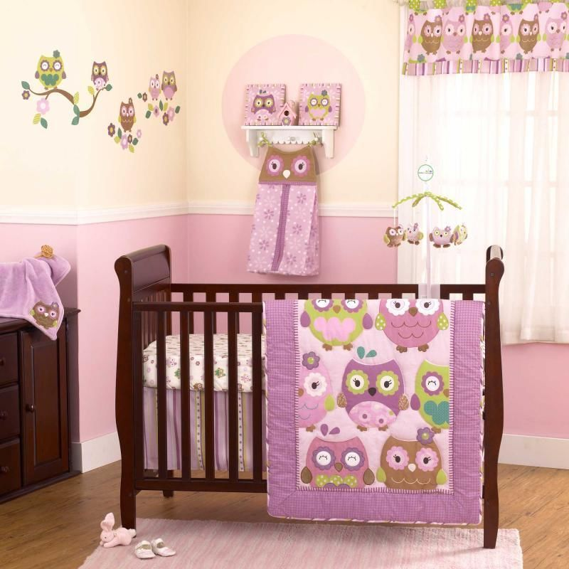 Purple Green And Brown Owls Baby Girls Discounted 4pc Nursery Crib Bedding Set Cococompany
