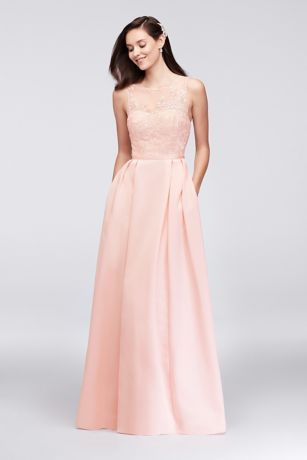 01afe26f0b An elegant illusion bodice is topped with floral appliques on this  floor-length
