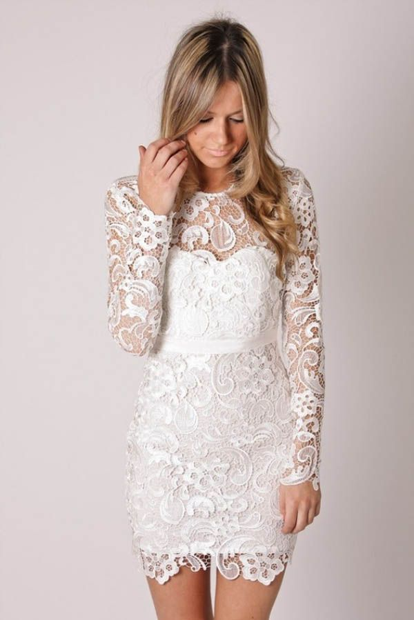 Rehersal Dress Short Lace Wedding Reception