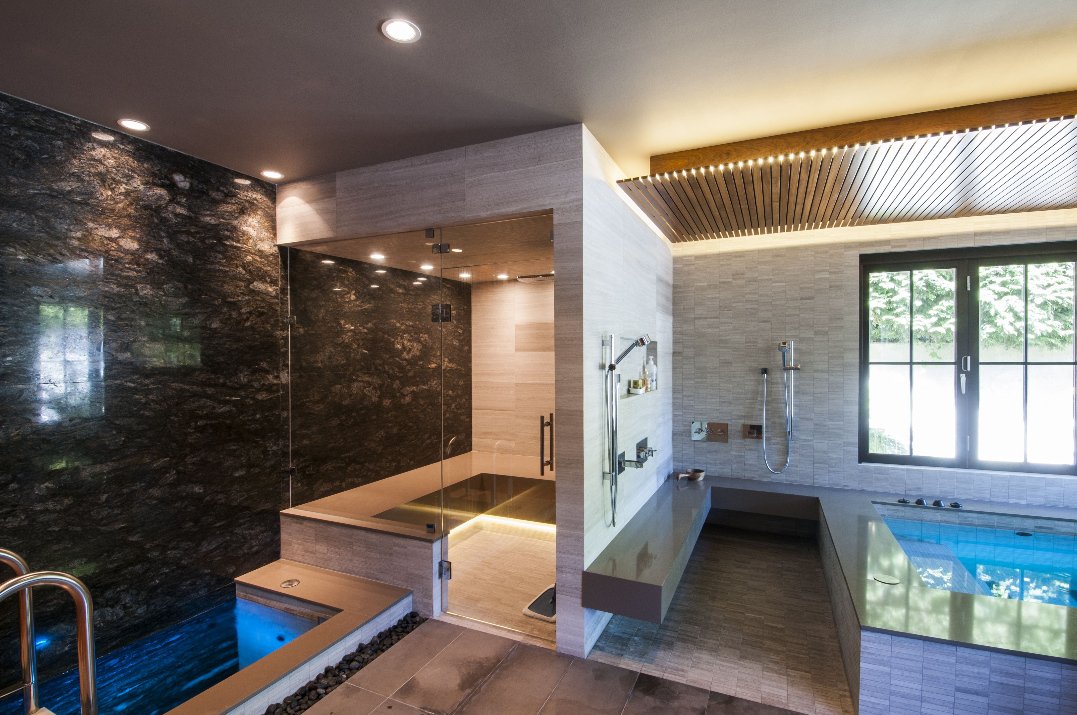 Therapeutic At Home Spa Features A Cold Plunge Pool Hot Tub Walk In Showers And Sauna Not Shown At 4 0 Depth The Col Home Spa Room Home Spa Sauna House