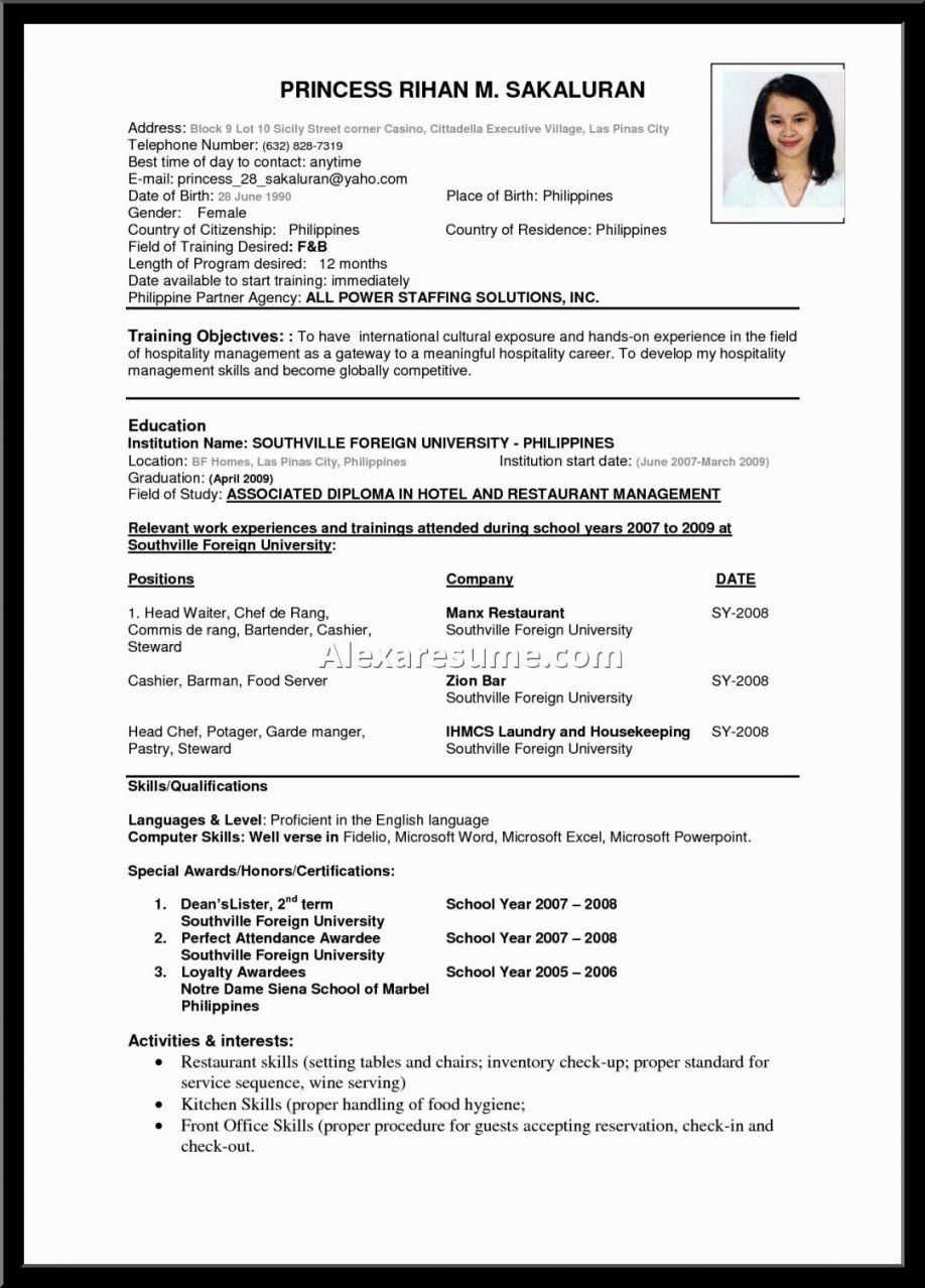 A Perfect Resume Format Resume Format Examples Job Resume Format Resume Format