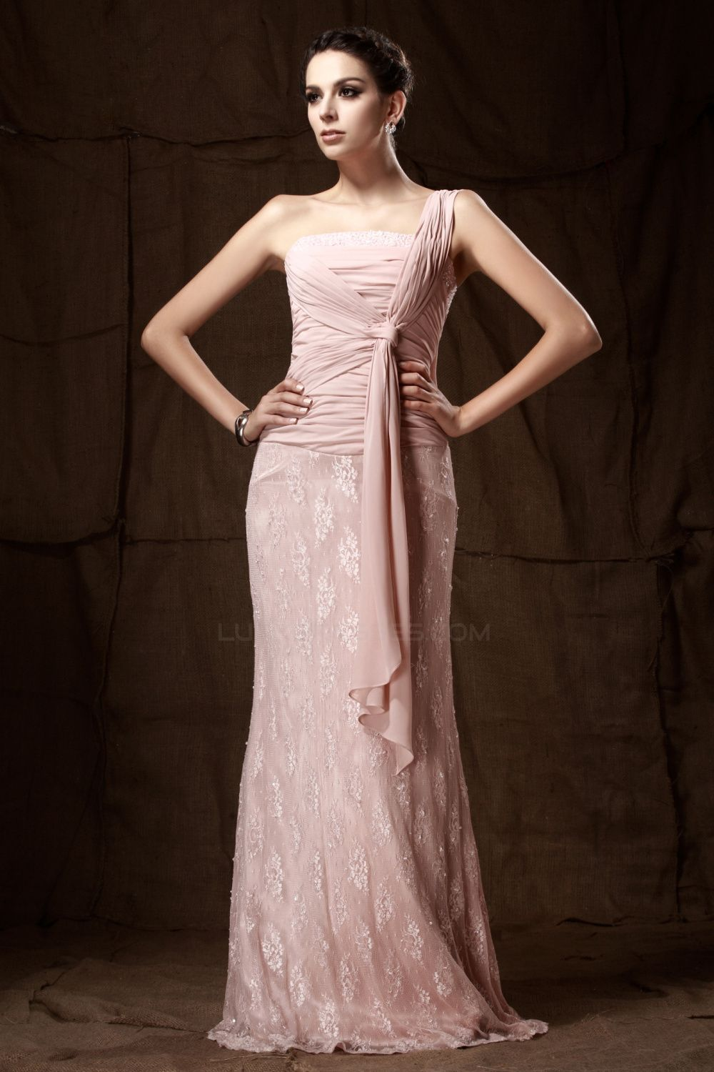 Sheath OneShoulder Beaded Chiffon and Lace Mother of the