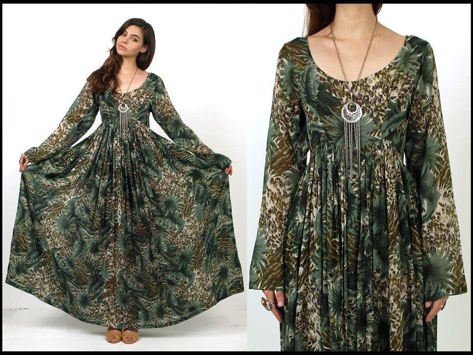 Vtg 70s Green LEAF Print Sheer Cotton Hippie Boho MAXI Dress S/M