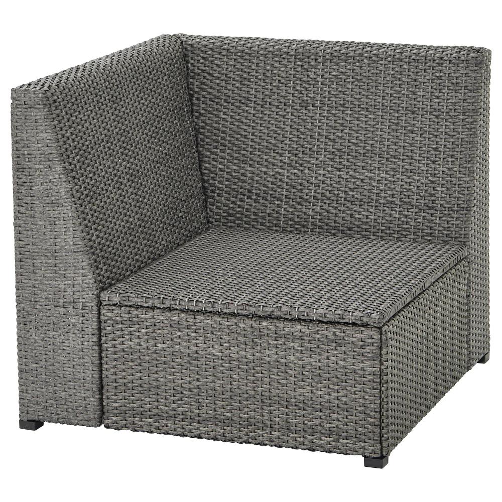 SOLLERÖN Corner section, outdoor, dark gray - IKEA  Grey rattan
