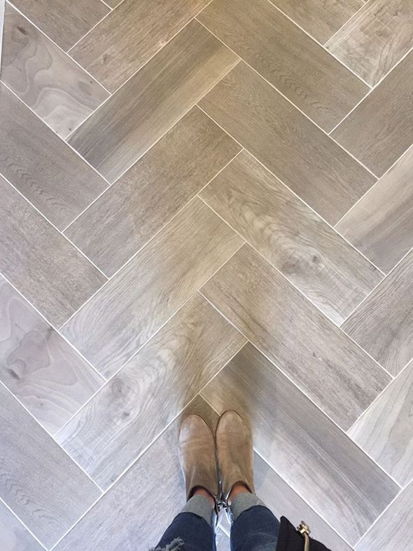 Wood Grain Tile Floor In Herringbone Pattern. Great For Entry Or Mudroom.