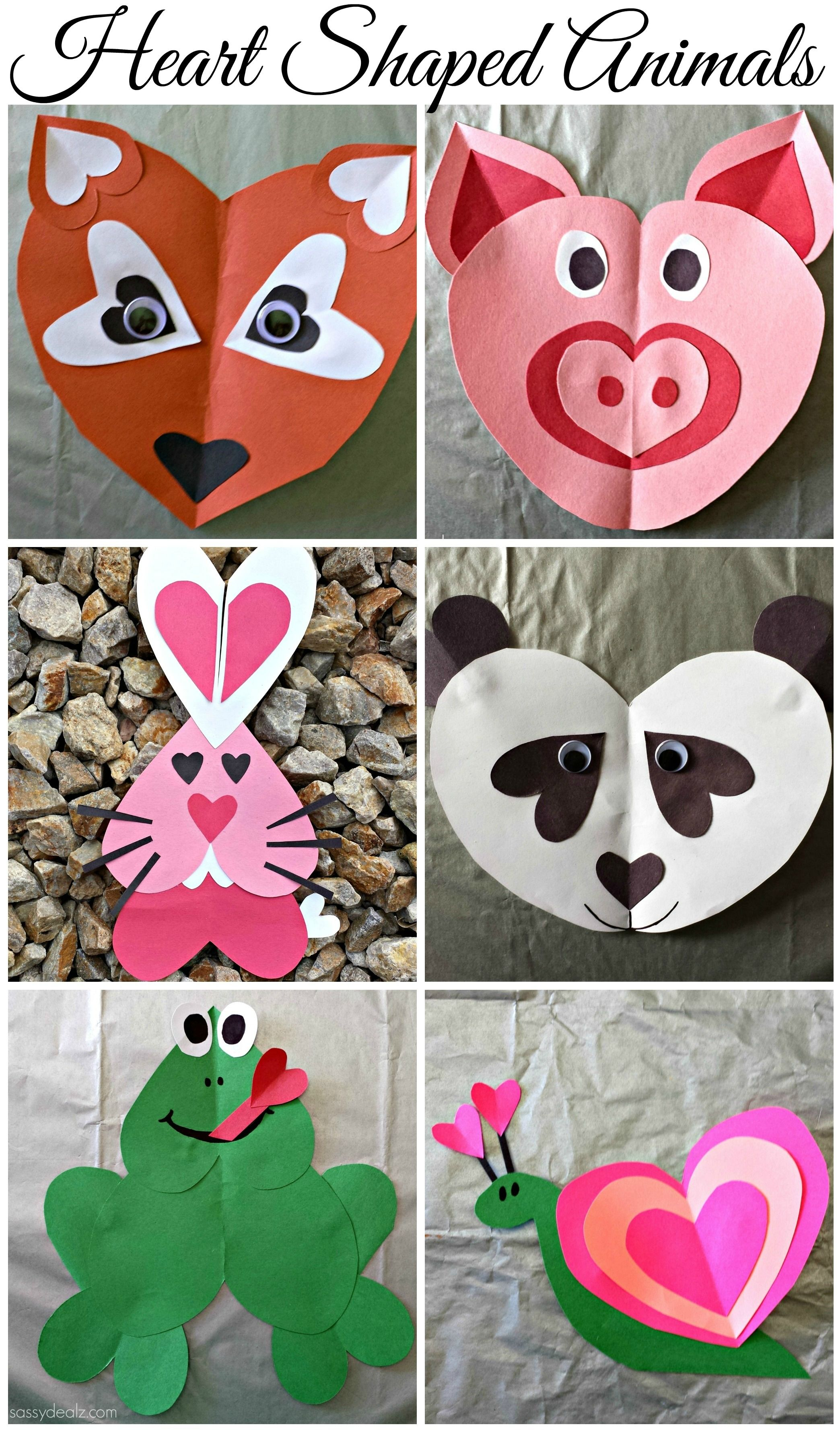 Heart Shaped Animal Crafts For Kids Valentines Day Art Projects
