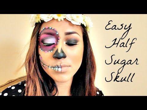 easy half sugar skull makeup really cool idea  candy