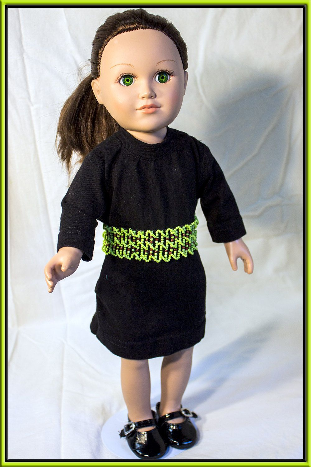 Black t shirt dress etsy - American Made Girl Doll Clothes Black T Shirt Dress W Seed Bead Belt