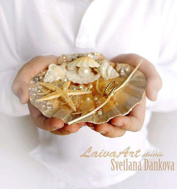 Seashell Ring Holder Beach Wedding Ring Bearer by LaivaArt