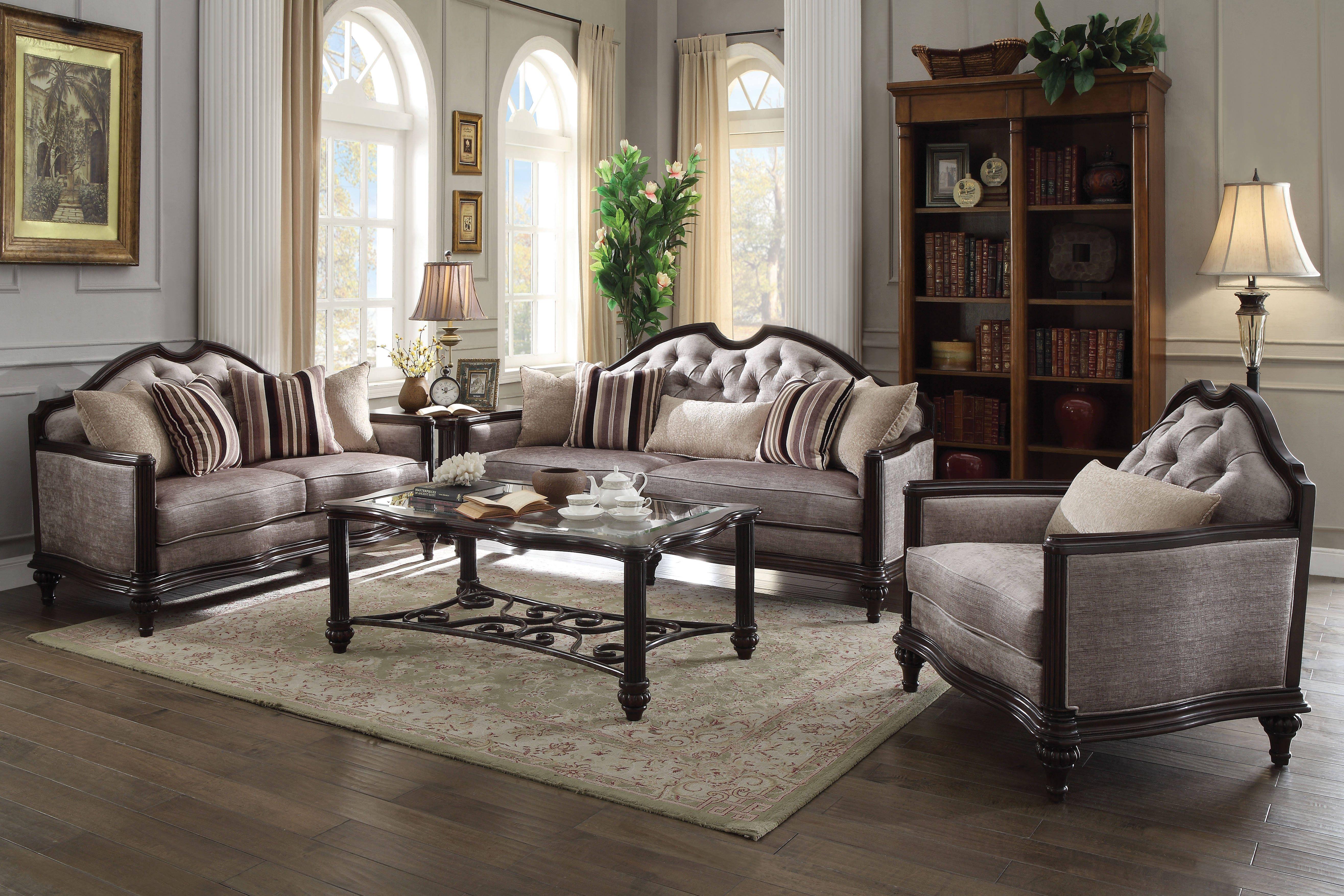 Azis traditional gray dark fabric walnut wood foam living room set